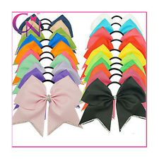 5pcs Pretty Rhinestone Bling Grosgrain Ribbon Cheer Bow With Elastic For Girls