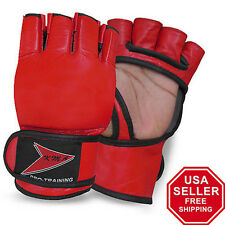 MMA Grappling Gloves Mix Cage Fighting Martial Arts Punch Bag Boxing Gloves -Red