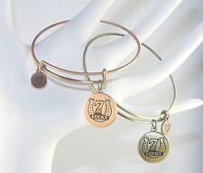 Wire Bangle / Bracelet With a Lucky 7 Horseshoe Charm Good Luck Talisman Amulet