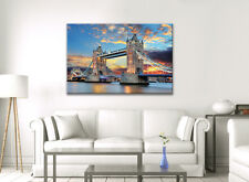 CANVAS WALL ART LONDON CITY LIGHTS SKY TOWER BRIDGE THAMES  PICTURE NEW PRINT