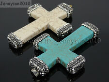 Howlite Turquoise Czech Crystal Rhinestones Cross Pendant Charm Beads White Blue