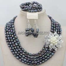 Black Pearl Necklace Earrings Bracelet Women Party Jewelry Set New Natural Pearl