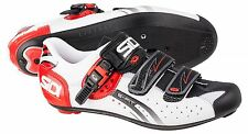 SIDI Genius 5 Fit Men's Road Cycling Carbon Sole 3-Bolt Shoes - White/Black/Red