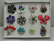 FASHION JEWELRY LOT 12 PCS MIX COLLECTION CHIC COCKTAIL COSTUME  RINGS  EA-58