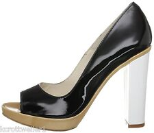 RRP £185 SIZE 3 4 5 PACO GIL 100% LEATHER BLACK WHITE CAMEL PATENT COURT SHOES