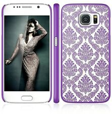 Transparent Vintage Damask Pattern Purple Case Cover For Samsung Galaxy S6