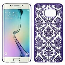 Transparent Purple Vintage Damask Hard Cover Shell Case For Galaxy S6 Edge