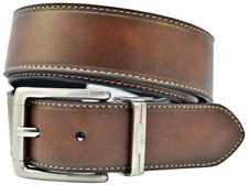 NAUTICA Men's Reversible Leather Belt w/ Contrast Edge Stitching - Brown / Black