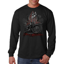 Classic Iron Rumblers Route 66 Motorcycles Biker Chopper Long Sleeve T-Shirt Tee