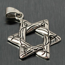 Vintage Jewish Star of David Charm Necklace Pendant Silver Tone Stainless Steel