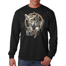 Dream Catcher Wolf Spirit American Freedom Wolves Animal Long Sleeve T-Shirt