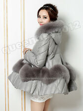 100% Real Genuine Sheep Leather Jacket Coat Poncho Outwear Fox Fur Trim Fashion