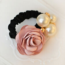 Charm Women Satin Ribbon Rose Flower Pearls Hairband Ponytail Holder Hair Band
