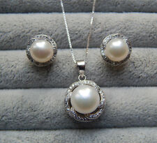 Genuine Cultured 9-10mm Freshwater Pearl Necklace and Earring set X'mas Gift