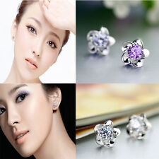 Cubic Zircon Sterling Plated Earring Silver/Purple Pure Silver Ear Crystal Stud