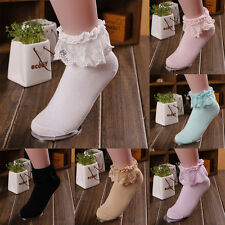 Princess Girl Cute Sweet Women Ladies Vintage Lace Ruffle Frilly Ankle Socks WD