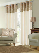 STYLISH FAUX SILK RINGTOP EYELET LINED METALLIC FLORAL LATTE CREAM CURTAINS