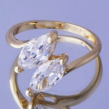 womens White Sapphire Crystal wedding ring size 5.5/7/8 18k yellow gold filled