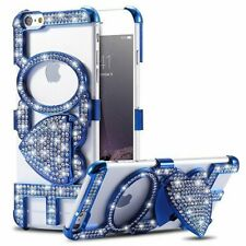Luxury Bling Diamond LOVE Kickstand Blue Bumper Case For iPhone 6/6s & 6/6s Plus
