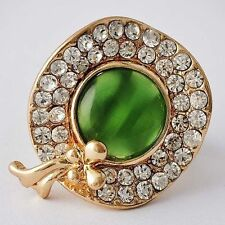 womens vintage emerald ring 18k yellow gold filled rhinestone ring for party