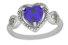 1.5 Ct Amethyst & Diamond Heart Ring .925 Sterling Silver