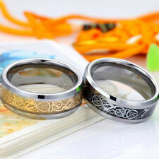 8MM Gold Silver Dragon Stainless Steel Men Wedding Rings Cool Band Ring Hot