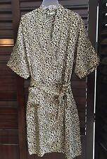 NWT Women Sleepwear Strass Lingerie Satin Robe Leopard Animal Print Pajamas