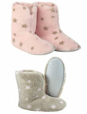 Soft Fleece Star Slippers Ladies Womens Booties Anti Slip Sole Pink Brown Stars