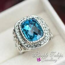 Antique Stylish 18K White Gold GP Sapphire SWAROVSKI Elements crystals Ring