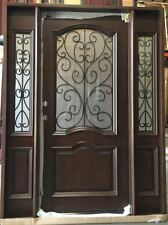 Wood Iron Door Pre-hung &Finished TMH7501-5 Frosted Glass