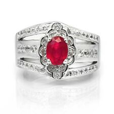 7x5mm Natural Rich Red Ruby Ring With White Topaz in 925 Silver