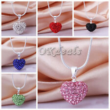 Fashion Crystal Heart Silver Snake Chain Pendant Necklace Wedding Ladies Jewelry