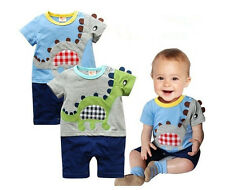 Toddler Baby Boys Cute Cotton Dinosaur Romper Jumpsuit Bodysuit Outfits 0-24M