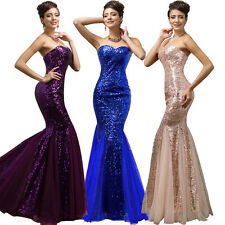 Plus Sz Mermaid Long Sequins Formal Gown Ball Party Evening Prom Cocktail Dress