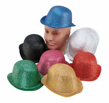 #GLITTER #BOWLER ALL COLOURS ADULT HAT FANCY DRESS