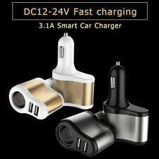 3.1A Car Charger Adapter Dual Mini USB 2-Port & Cigar Lighter For iPhone Samsung