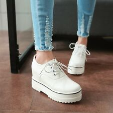 Korean Round Toe Lace Up Platform Wedge Heel Womens Lace Up Pumps Loafers Shoes