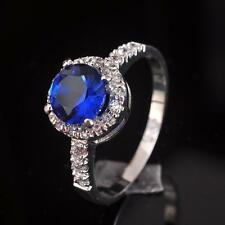 Fashion Jewelry White Topaz & Sapphire Quartz S80 Silver Gemstone Ring size 6~9