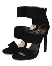 Qupid Glee-50 New Women Nubuck Open Toe Ankle Strap Stiletto Heel Sandal