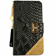 Womens Leather Flip Wallet Purse Case Credit Card Holder BLACK Galaxy Note 3 4 5