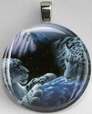 Handmade Interchangeable Magnetic Snow Leopard #2 Pendant Necklace