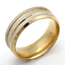Fashion Stainless Steel Ring Size 7-11 Womens Mens Silver Scrub Gold Band