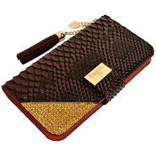 Luxury Snake Skin PU Leather Flip Wallet Purse Case BROWN for Galaxy Note 3 4 5
