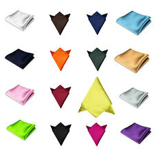 HOT Colors Men Pocket Square Hanky Handkerchief Plain Solid Wedding Formal Party