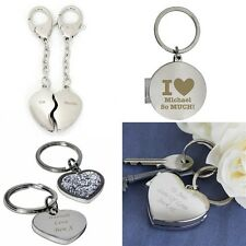 PERSONALISED Engraved Keyring Key Ring Heart Photo Valentines Gift Present Idea