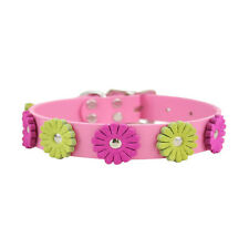Brand New Auburn Leathercrafters Durable Leather Flower Dog Pet Pink Collar
