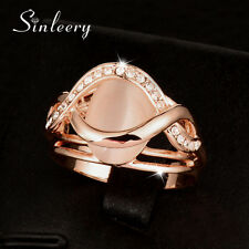 Size 6-10 Luxury Round Opal Solid Engagement Rings Women Rose Gold Promise Ring