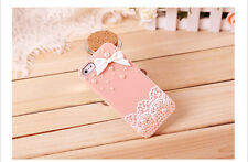 HOT Bling Rhinestones Pearls Lovely Lace Hard Case Cover For iPhone 6/4s/5s Pink