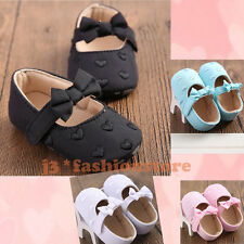 Newborn Baby Girls Soft Shoes Bowknot Infant Toddlers Crib Anti-slip Sz 0-18 AU