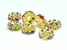 rhinestone copper spacer bead, yellow gold plated, mix color rhinestone, 6-12mm